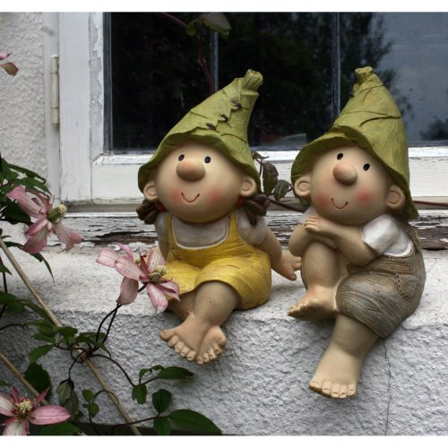 Lilly and Len Elves sitting , Garden Ornament, Gnome, Garden Fairy, Troll, Imp