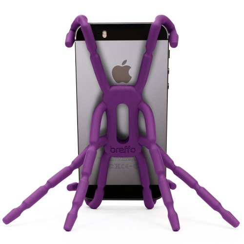 Breffo Spiderpodium Flexible Grip/Mount Car Phone Holder and Dock incl. all iPhone, Samsung, Sony, HTC, Nokia, Huawei, Moto – Purple