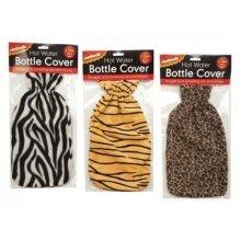 Hot Water Bottle Hot Bodz Cover 2 Litre Capacity Item No:183/728 Assorted -  hot water bottle cover animal zebra tiger leopard fleece 2 bottles litre