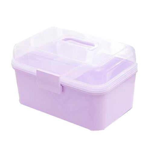 Portable Handheld Family Medicine Cabinet First Aid Kit Storage Box Light Purple