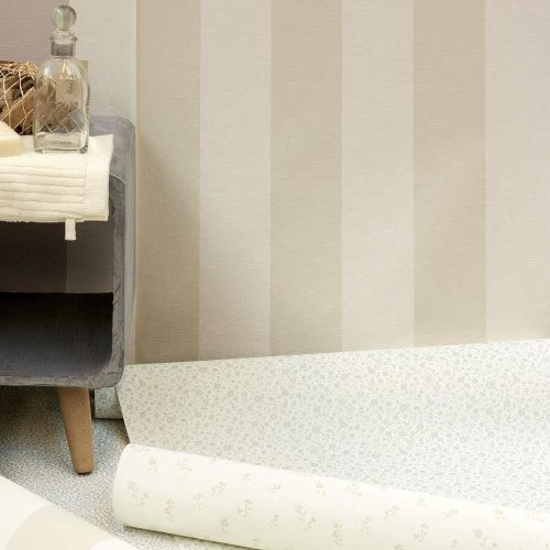 NEW AS CREATION LIBERTE STRIPED PATTERN PASTEL COLOUR TEXTURED WALLPAPER ROLL[TAUPE 314055]