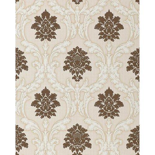 EDEM 052-23 wallpaper baroque damask chocolate-brown white | 5.33 sqm (57 sq ft)