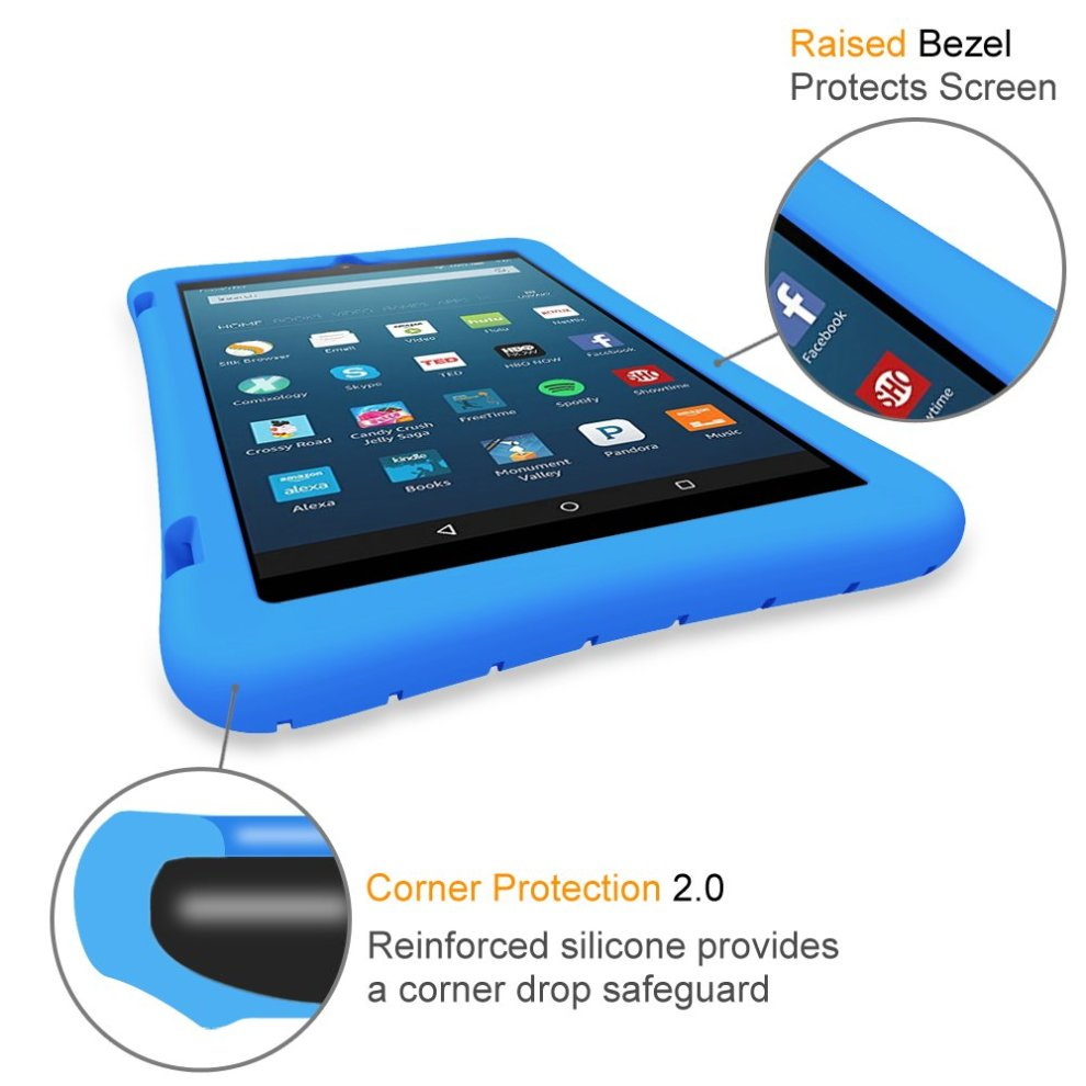 FINTIE Silicone Case for Fire HD 8 Tablet (7th Gen, 2017) - [Honey Comb]  Blue
