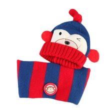 Cute Winter Baby Kids Girls Boys Hats Warm Scarf Caps Plush Ear Protect Gift Set-Deep Blue