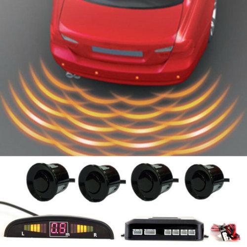 Car Rear Reversing Parking Sensors 4 Sensors Kit Audio Buzzer Alarm LED Display