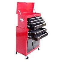 Homcom Red Portable Toolbox & Storage Cabinet | Rolling Tool Chest