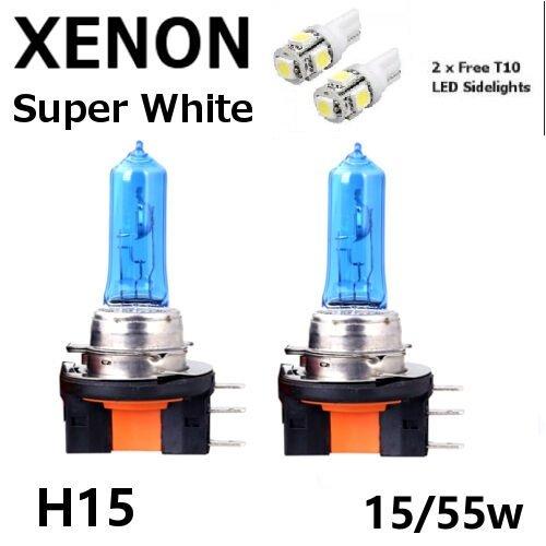 2x H15 15/55W DRL Main Beam Headlight Super White Bulbs Xenon