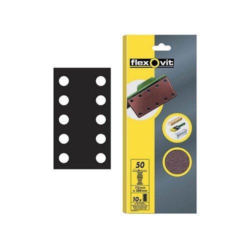 Flexovit 63642526499 1/2 Sanding Sheets 115 x 280mm Perforated Medium 80g Pack of 10