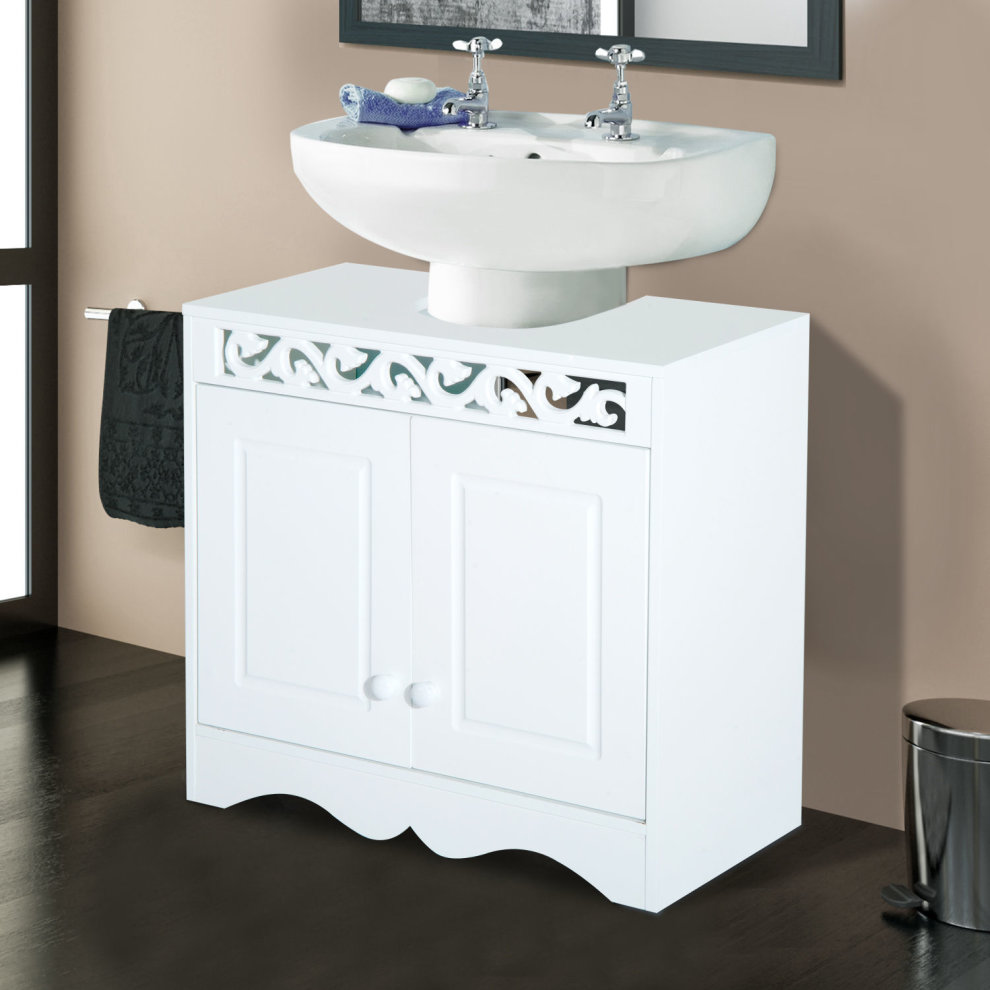 Homcom Bathroom Under Sink Storage Cabinet 2 Door Wooden Cupboard ...