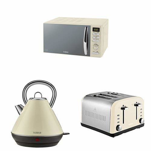 Tower DIGITAL Microwave, 1.8L Pyramid Kettle & a 4 Slice Toaster