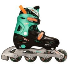 Nijdam Junior Inline Skates 27-30 Black/Green/Fluorescent Orange 52SB