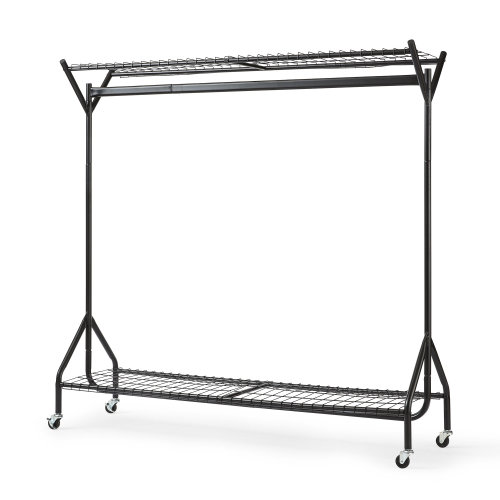 5ft  x 5ft Black Heavy Duty Hanging Clothes Rail with Shoe Rack