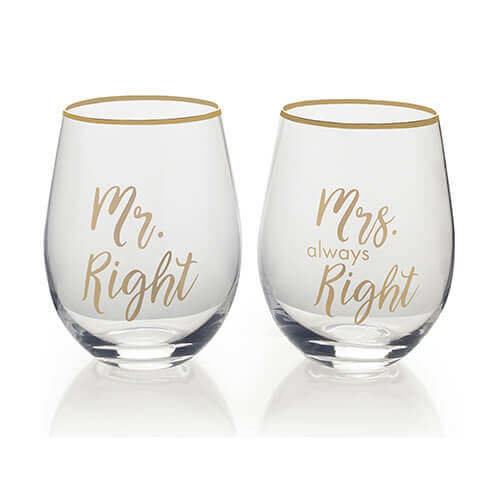 Mikasa Stemless Wine Glass Gift Set, 18-Ounce, Mr. Right/Mrs Always Right