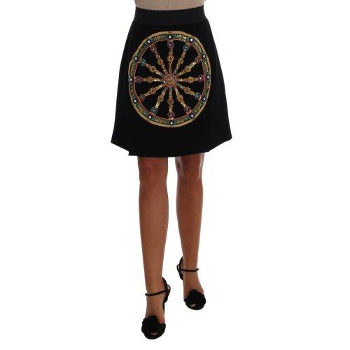 Dolce & Gabbana Black Embellished Wheel Wool Crepe Mini Skirt