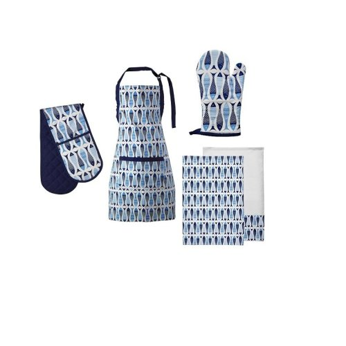 Pisces Kitchen Oven Gloves, Apron And Tea Towels, Set Of 5