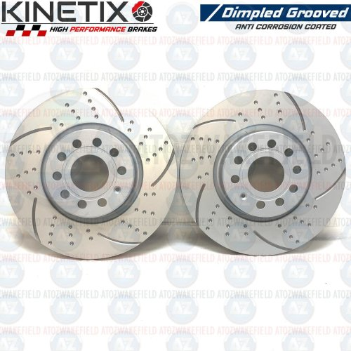 FOR SEAT LEON 2.0 TDI FRONT KINETIX DIMPLED GROOVED BRAKE DISCS PAIR 312mm