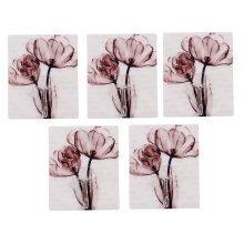 5 PCS Delicate Ink Flower  Hook Seamless Adhesive Hook, Brown