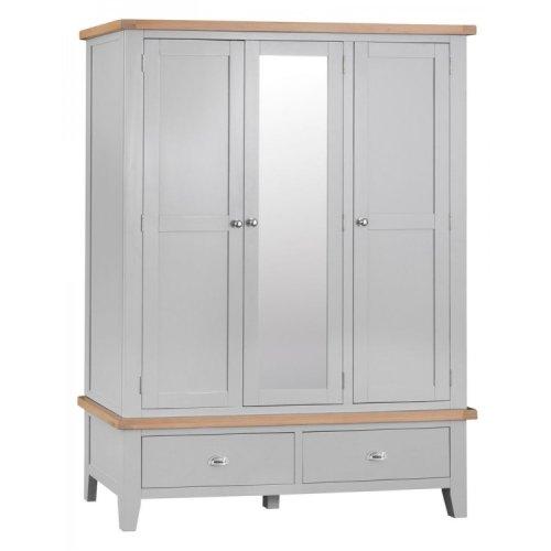 Tenby Grey Painted Furniture Large 3 Door Wardrobe