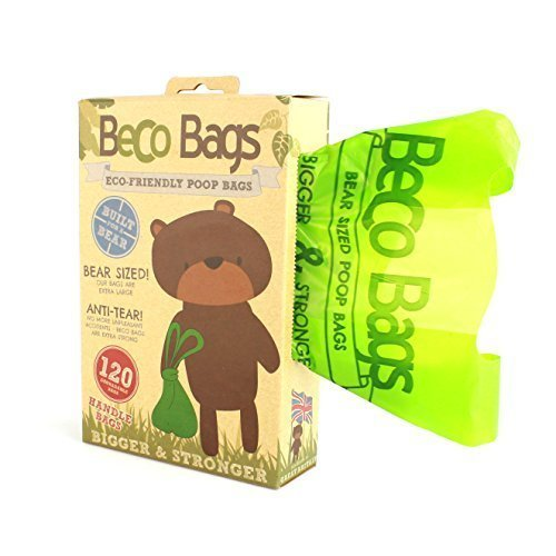 Beco Bags - 120 Large Unscented Poop Bags For Dogs With Handles - Eco-conscious -  bags beco 120 poop dog friendly extra degradable thick puppy 60
