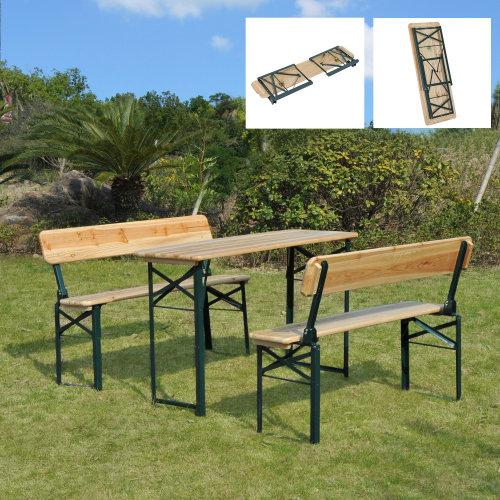 Outsunny 3PC Wooden Garden Furniture Set 2 Bench Table Patio Picnic
