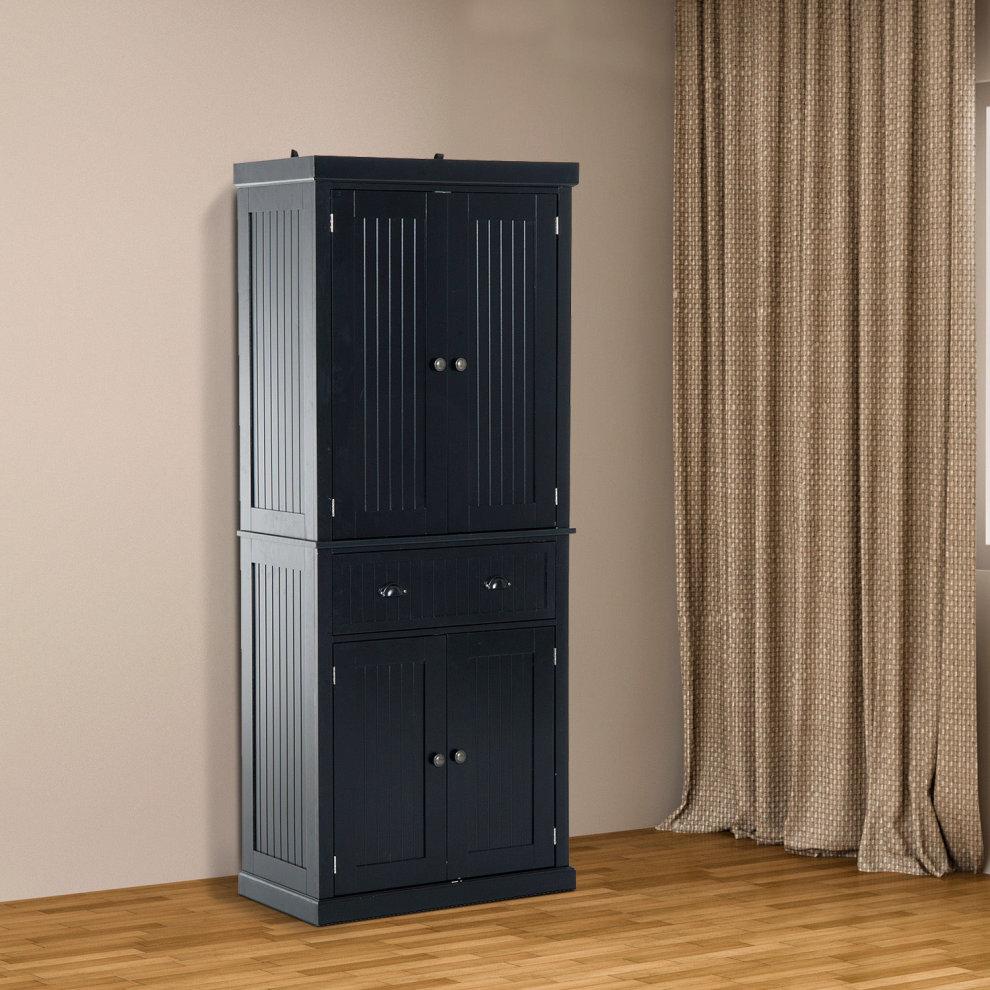 Homcom Storage Cabinet Cupboard Kitchen Pantry Organiser Black 2