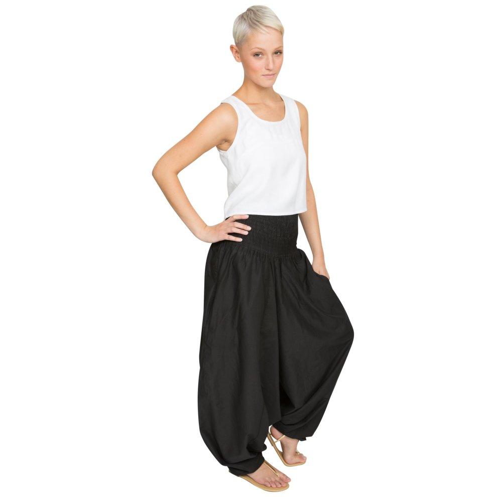 e2c57a5920 ... Cotton Maxi Harem Trouser Jumpsuit Black (One Size) - 6 ...