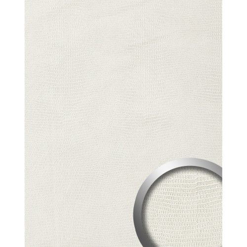 WallFace 15610 LEGUAN Wall panel leather self-adhesive decor white | 2.60 sqm