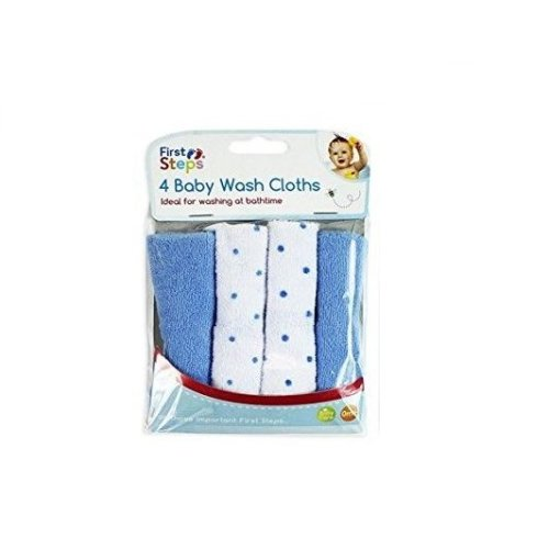 Baby Wash Cloths Pack Of 4 - Blue