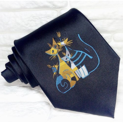 Luxury Black men's tie with cats handmade 100% silk quality Made in Italy tie