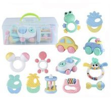 Teeth Biting Educational Toys Teether Hand Bell Toys Newborn Gift Set for Babies,12 Pcs in Bottle