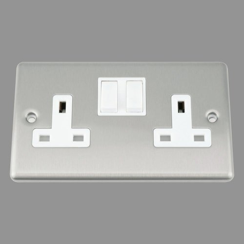 AET CSC2GSOCWH 13 A 2-Gang Satin Finish Chrome Classical Double Plug Socket with White Insert Plastic Rocker Switch