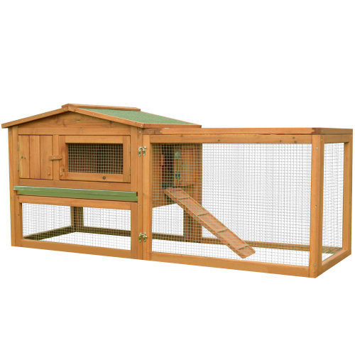 PawHut 2 Floor Wooden Rabbit Hutch Cage Chicken Coop Outdoor Backyard