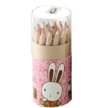 Cute Wood Colored Pencil with 24 Different Colors Assorted Colors (L=8.5cm)