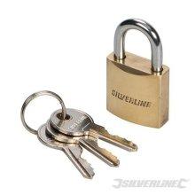 Silverline Brass Padlock 40mm - Mss03 Keys Security -  brass padlock silverline 40mm mss03 keys security