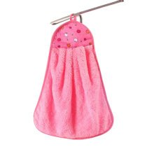 Plush Kids Hanging Hand Towels, Fingertip Towels,Multipurpose,Pink