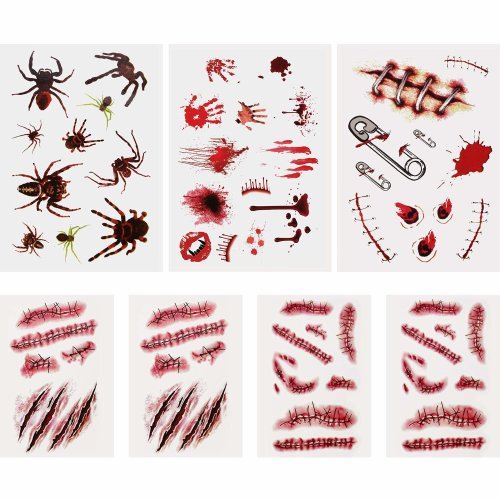 7 Sheets Halloween Bleeding Wound Scar Blood Temporary Tattoos Fake Bloody Stickers for Party Cosplay Costume