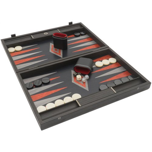 The Manopoulos Black Oak Argento Backgammon Set with Philos Deluxe Cups