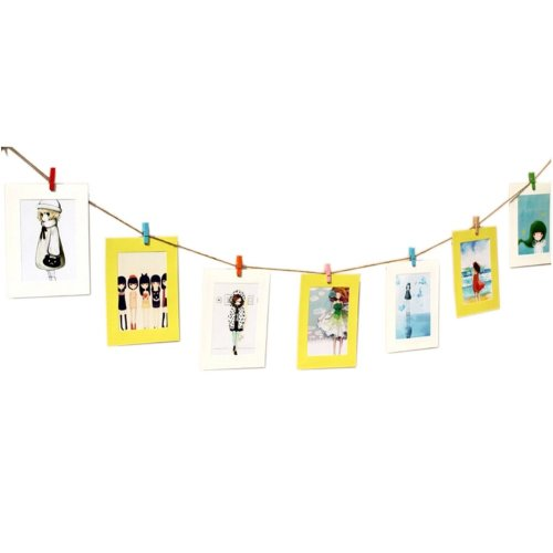 Wall Decor Photo Frame with Mini Wooden Clips & Hemp Rope, Yellow & White
