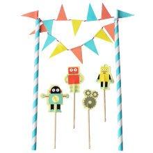 TRIXES Robot Cake Banner Topper Flag Decoration