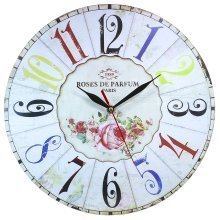 Home Obique Decoration MDF Roses de Parfum Paris 34cm Wall Clock