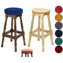Tamara Wood Bar Stool - Padded / Unpadded Burgundy Fabric Unpadded Polished Wood Dark Oak