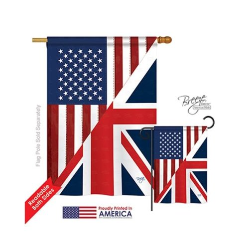 Breeze Decor 08380 US UK Friendship 2-Sided Vertical Impression House Flag - 28 x 40 in.