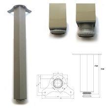 4 x 710mm Aluminium Breakfast Bar Worktop Support Table Leg Square 65mm Diameter