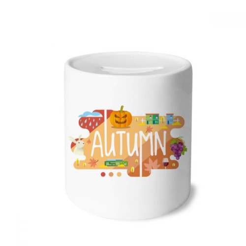 Autumn Season Illustration Money Box Saving Banks Ceramic Coin Case Kids Adults