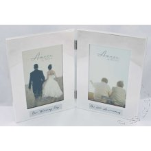 60th Wedding Anniversary Silverplated double photo Frame. then & Now Amore by Juliana