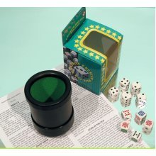 Poker dice with dice cup, spot dice and multi game rules 00546