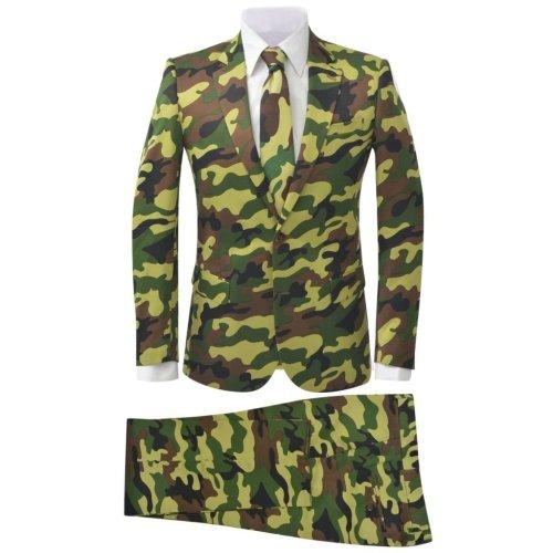 vidaXL Men's Two Piece Suit with Tie Camouflage Print Size 46