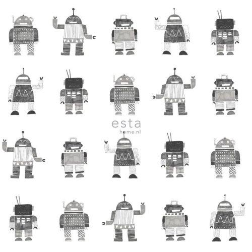 HD non-woven wallpaper drawn vintage toy robots black and white