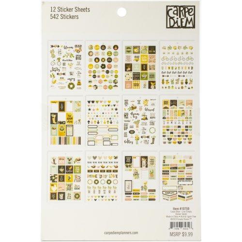 Carpe Diem A5 Planner Sticker Tablet-Live Simply, 536/Pkg