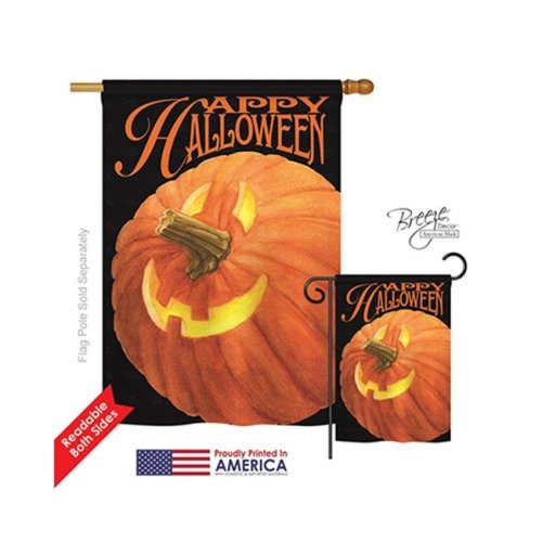 Breeze Decor 12057 Halloween Jack O Lantern 2-Sided Vertical Impression House Flag - 28 x 40 in.